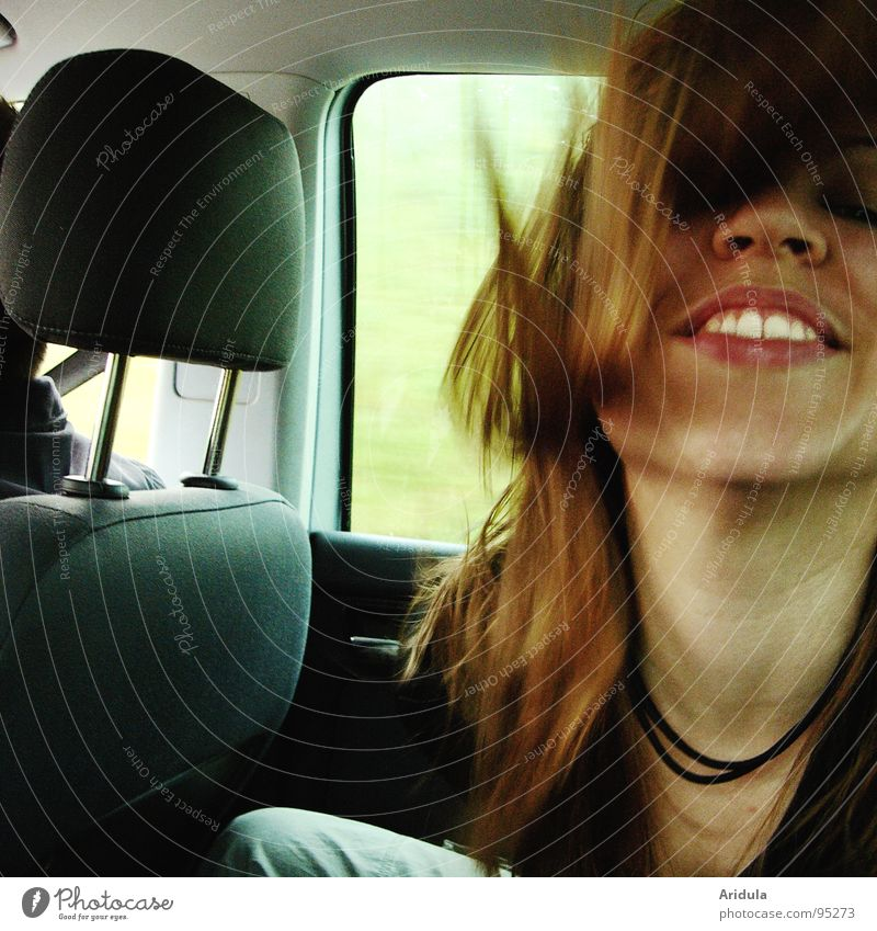 Woman Green Joy Face Street Dark Window Movement Laughter Hair and hairstyles Car Funny Nose Sit Driving Teeth