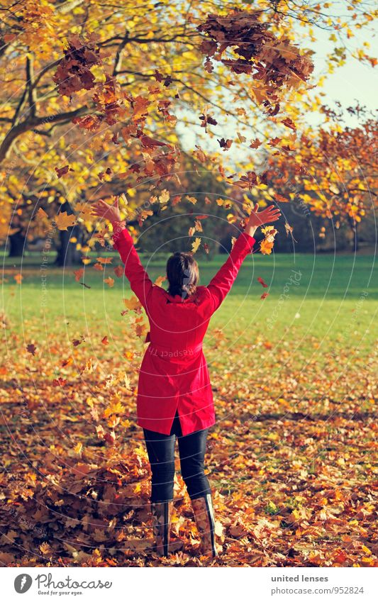 Woman Beautiful Red Joy Autumn Art Contentment Esthetic Beautiful weather Autumn leaves Autumnal Boots Coat Throw Autumnal colours Early fall