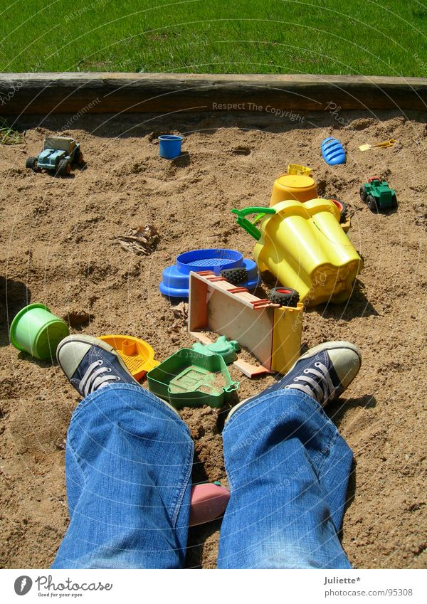 sandbox chaos Green Sandpit Playing Child Grass Meadow Summer Blue Jeans Joy Colour