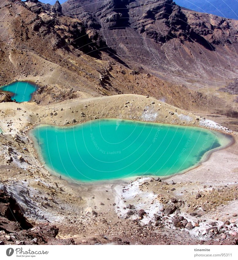 Foreign Landscape Lake Green Volcanic crater Lunar landscape Stone Gray Turquoise New Zealand Mountain Water Blue Volcano Thin Tongariro