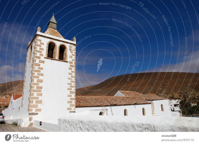Mountain Religion and faith Art Facade Contentment Esthetic Church Roof Spain Village Mediterranean Canaries Church window Mountain village Church congress Nave