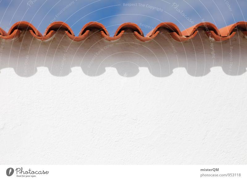 ^V^V^V^V^V^ Wall (barrier) Wall (building) Facade Roof Esthetic Roofing tile Undulation Undulating White Summer vacation Summery Red Mediterranean Symmetry