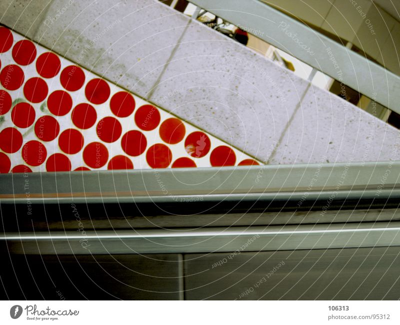Red Metal Going Walking Tall Industry Circle Stairs Retro Point Derelict Tunnel Underground Manmade structures Downward