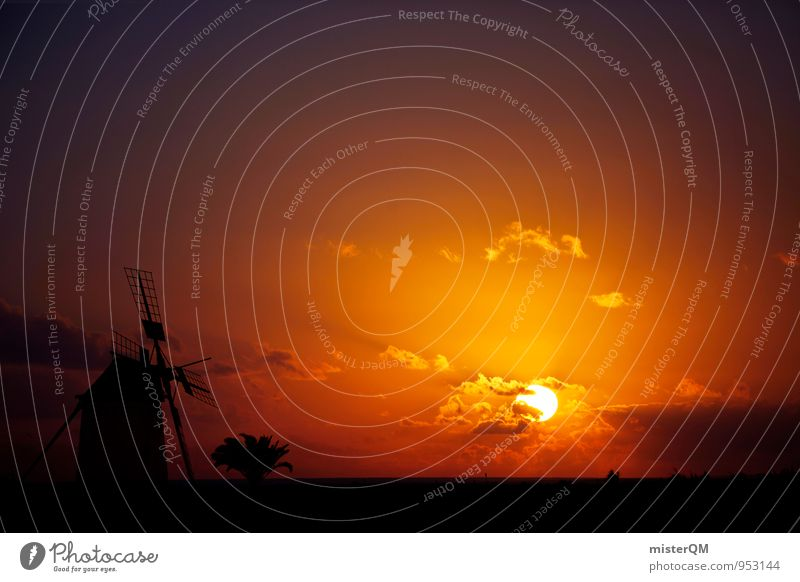 Sun Trail I Art Esthetic Contentment Sunset Romance Idyll Sunlight Sunbeam Solar Power Clouds Kitsch Windmill Spain Color gradient Peaceful Time Timeless End