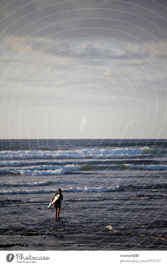 One Day. Art Esthetic Contentment Calm Idyll Waves Swell Undulation Wave action Wavy line Wave break Surfer Surfing Surfboard Spain Vacation & Travel