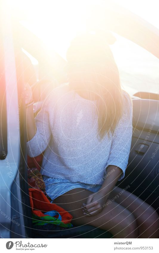 Human being Woman Vacation & Travel Summer Sun Relaxation Car Window Contentment Sit Esthetic Summer vacation Long-haired Summery Vacation photo Car seat