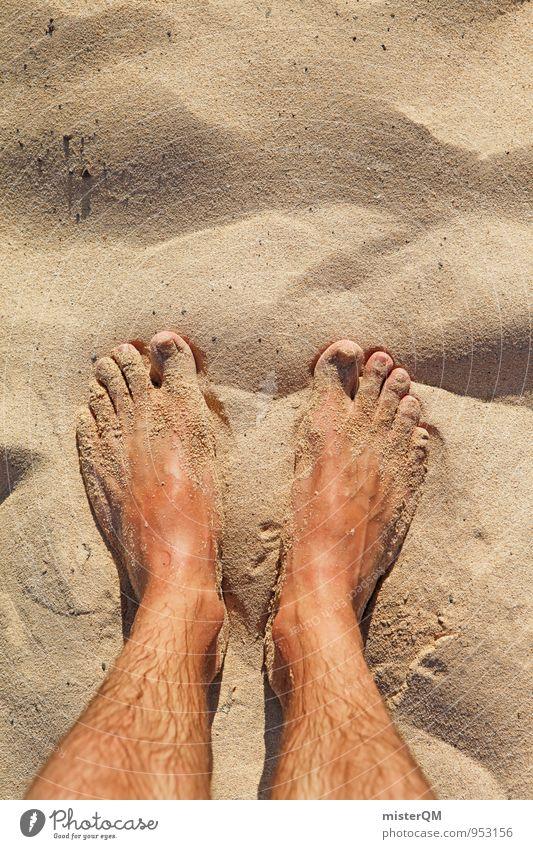 Two sand. Art Esthetic Contentment Loneliness Boredom Symmetry Sand Sandy beach Beach dune Dune Summer vacation Summery Walk on the beach Grain of sand Feet