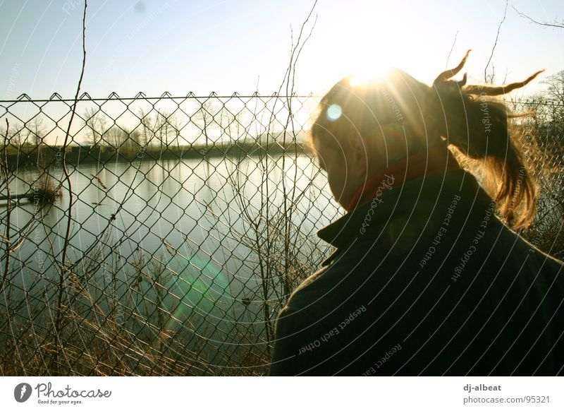 Private property! Fence Cold Lake Wet Back-light Repression Captured Grief Exterior shot Distress Youth (Young adults) Metal grid water Nature Freedom Sky Blue