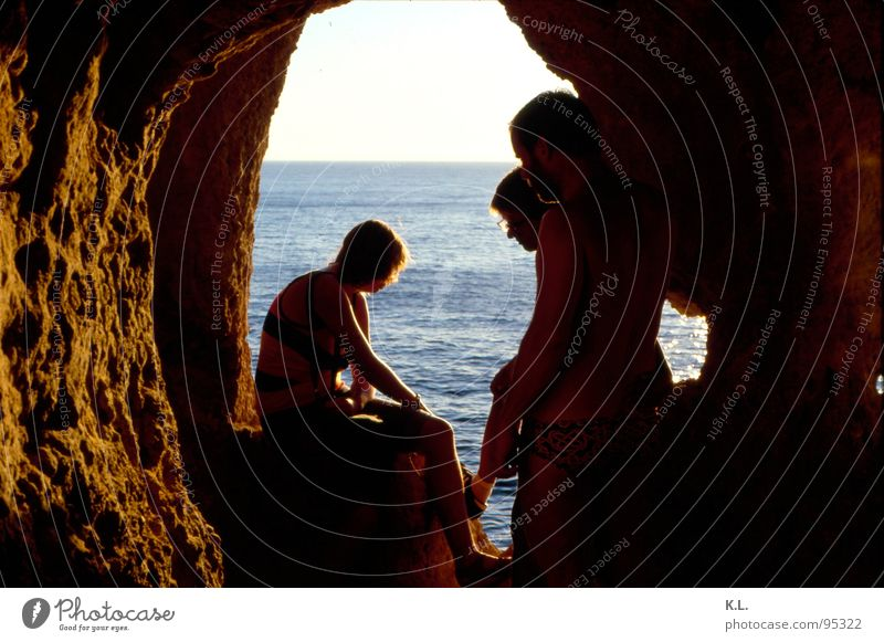 Ocean Summer Calm Loneliness Relaxation Moody Horizon Rock Past Thought Safety (feeling of) Portugal Cave