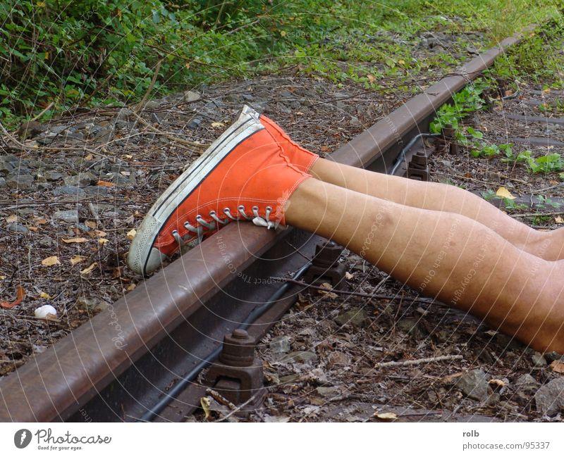 Red Joy Playing Footwear Legs Skin Railroad Dangerous Threat Railroad tracks Boots Sneakers Basketball
