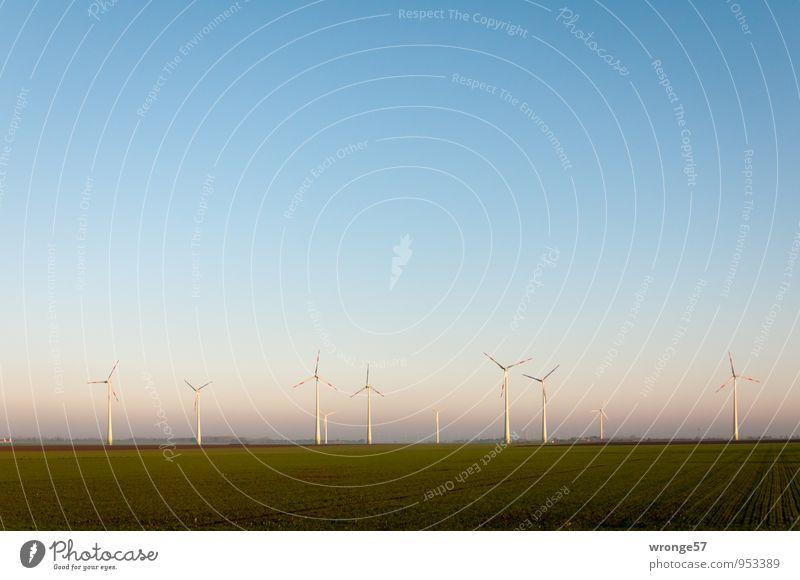 wind farm Advancement Future Energy industry Renewable energy Wind energy plant Environment Landscape Sky Horizon Beautiful weather Edge Gigantic Blue Green