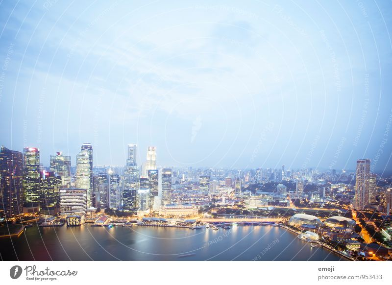 Singapore Town Capital city Port City Skyline High-rise Bank building Architecture Exceptional Blue Colour photo Exterior shot Deserted Twilight