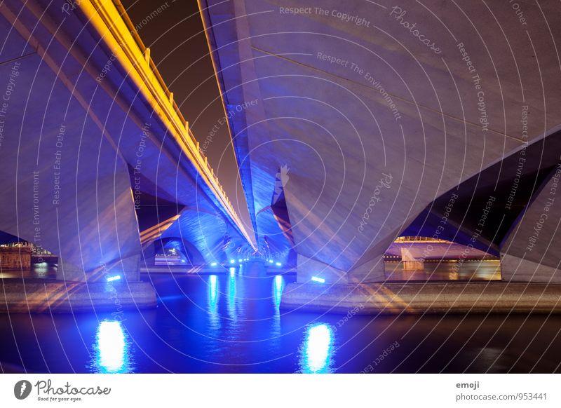 futuristic Capital city Port City Deserted Industrial plant Bridge Architecture Dark Modern Blue Water River Singapore Luxury Futurism Colour photo