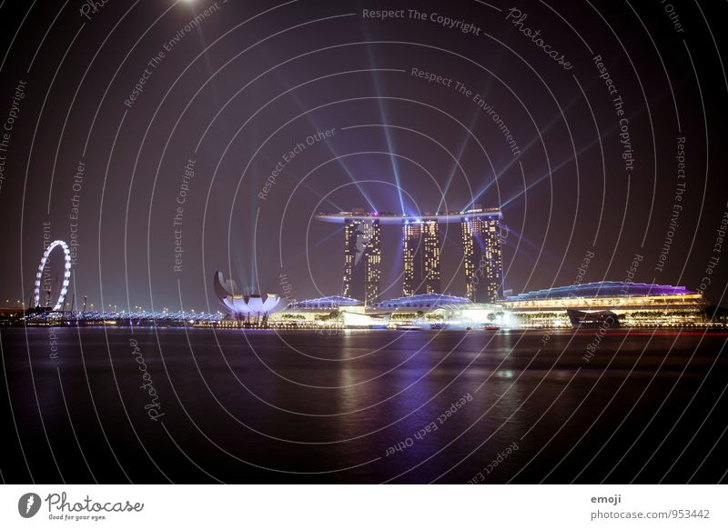 Singapore Town Capital city Port City Skyline High-rise Building Architecture Tourist Attraction Exceptional Dark Modern Luxury Light show Colour photo