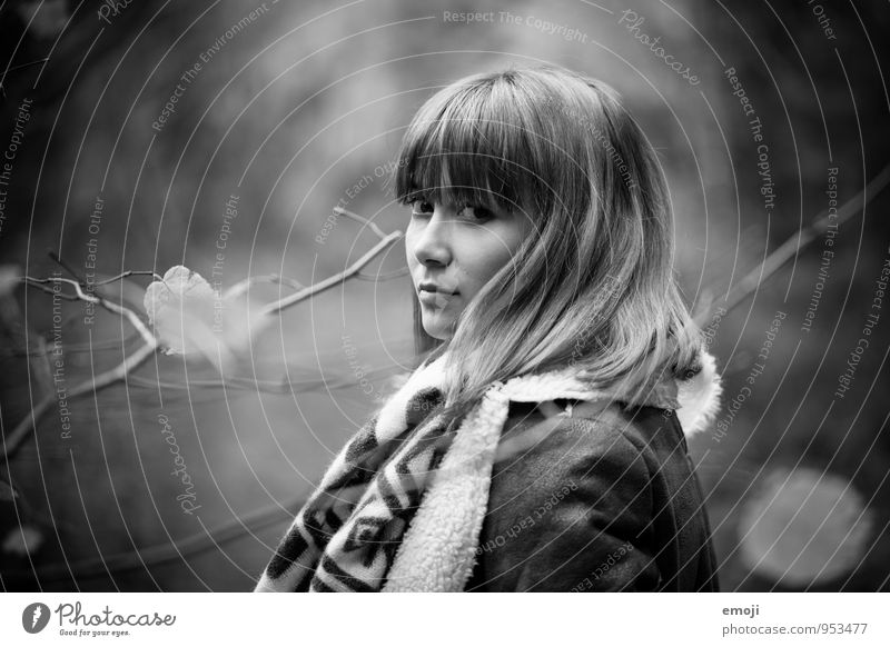 You. Feminine Young woman Youth (Young adults) 1 Human being 18 - 30 years Adults Autumn Beautiful Black & white photo Exterior shot Day Shallow depth of field