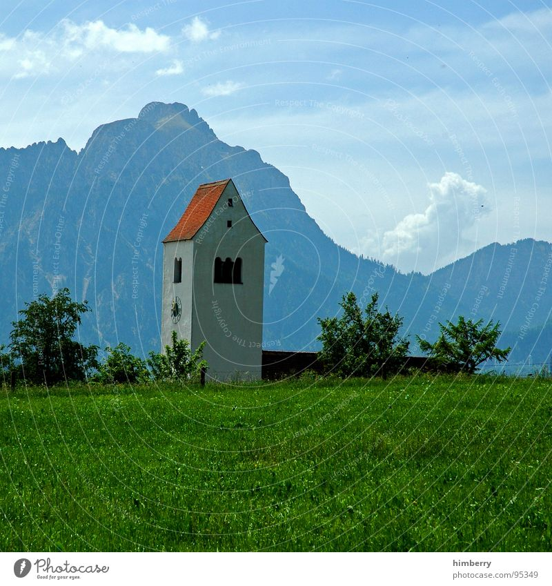 Nature Sky Green Plant Summer Clouds Meadow Grass Mountain Landscape Religion and faith Environment Tower Alps Bavaria Allgäu