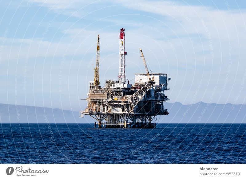 Oil Rig Blue Ocean Environment Coast Natural Energy Technology Island Industry Factory Pipe Environmental pollution Industrial Gasoline Channel