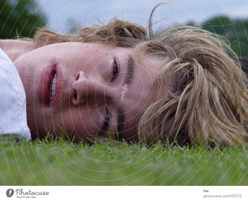 Lying Dutchman Man Blonde Portrait photograph Longing Future Thought Philosophy Think Lips Eyelash Eyebrow White Shadow Landscape format Relaxation Break Grass