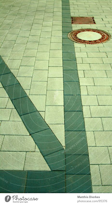 Green City Street Line Work and employment Places Modern Floor covering Asphalt Tile Traffic infrastructure Cobblestones Geometry Gully Curbside Glimmer