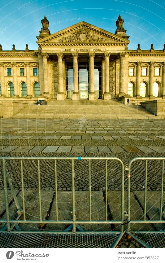Berlin Earth Closed Places Copy Space Ground Barrier Capital city Landmark Grating Frontal Reichstag Portal Seat of government Hurdle Government Palace