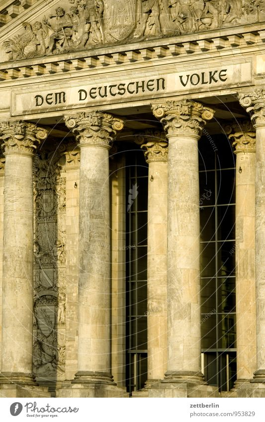 The German people Berlin Capital city Seat of government Government Palace Reichstag wallroth Column Entrance Portal Gate Inscription motto Dem deutschen Volke