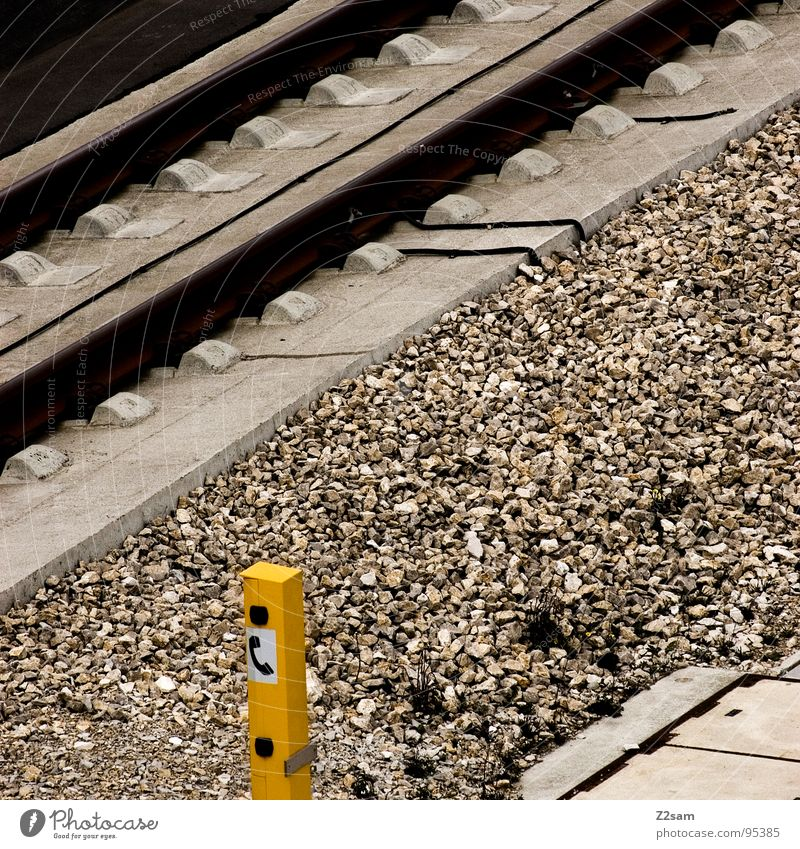 Yellow Stone Metal Concrete Railroad Telephone Driving Technology Railroad tracks Box Gravel Emergency Emergency call Hotline