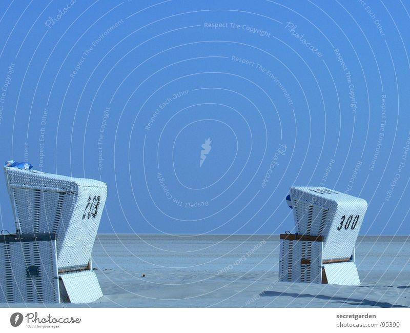 simultaneous viewer Azure blue Beach chair White 2 Shadow Horizon Wind Deserted Calm Relaxation North Sea beach Loneliness Sanddrift Far-off places