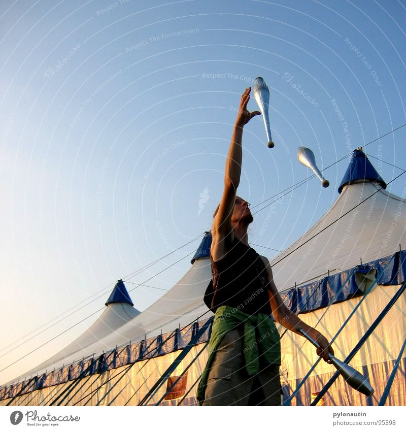 Sky Blue Sports Playing Art Circus Tent Cudgel Acrobat Juggle Juggler