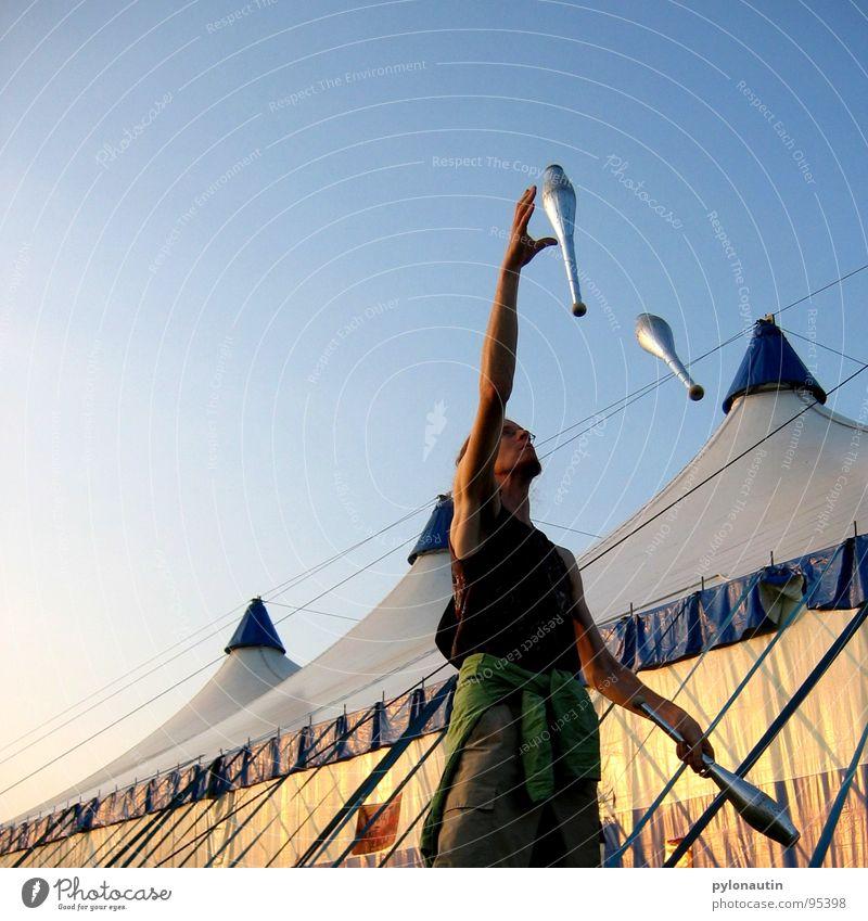 Sky Blue Sports Playing Art Circus Tent Cudgel Acrobat Juggle Juggler