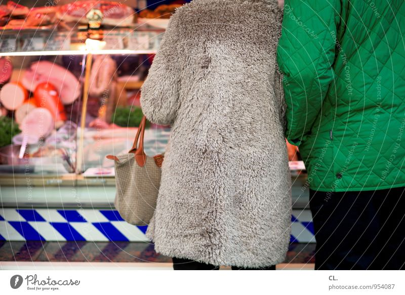 counter with the dead Food Meat Sausage Nutrition Eating Shopping Healthy Eating Overweight Human being Masculine Feminine Adults 2 Fur coat Meat-eater
