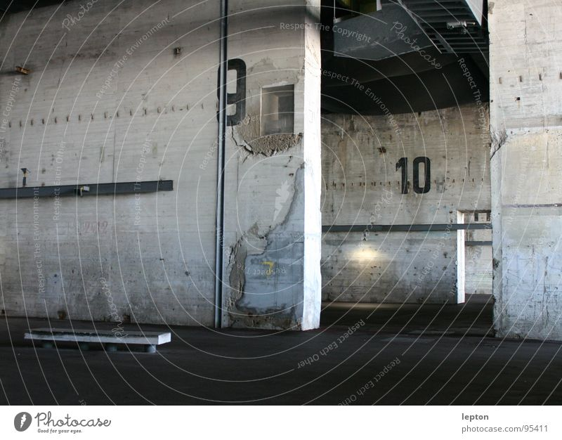 hall 9 10 Concrete Gray Digits and numbers Building Empty Industrial Industry Warehouse Storage Parking lot Loneliness Death converted