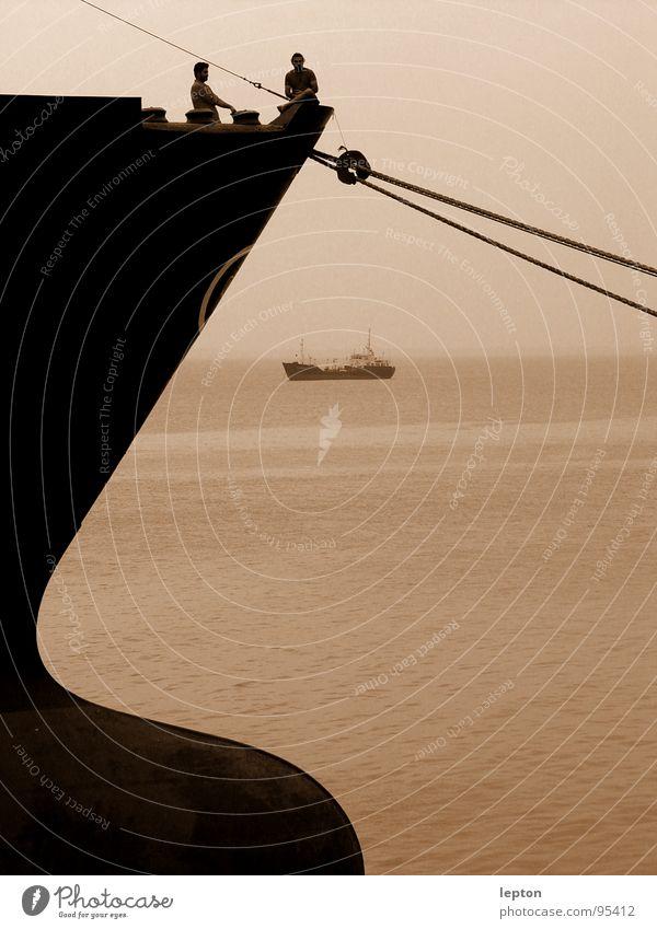Ocean To talk Friendship Watercraft Rope Break Industrial Photography Vantage point Harbour Navigation Working man Bow Cargo-ship