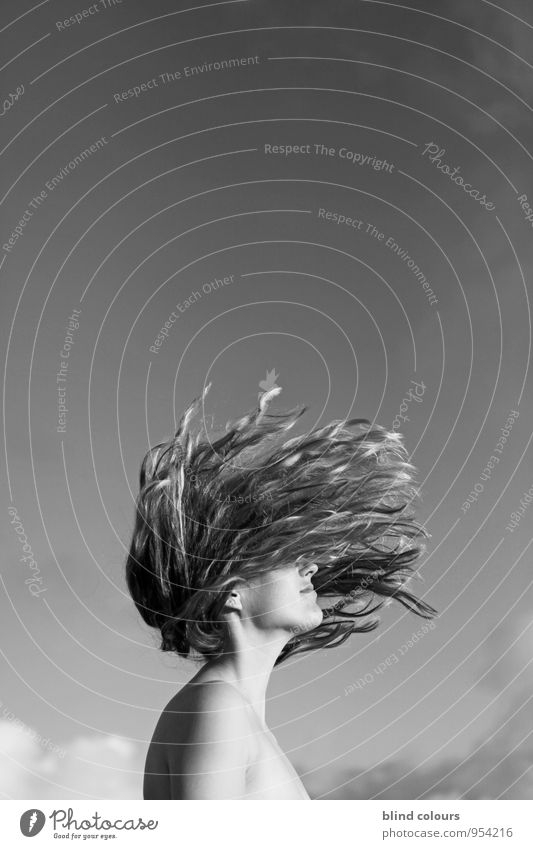 s'éparpiller Art Esthetic Looking away Blown away Hair and hairstyles Style Fashion Freedom Gravity Woman Face of a woman Funky Crazy Loud Youth (Young adults)