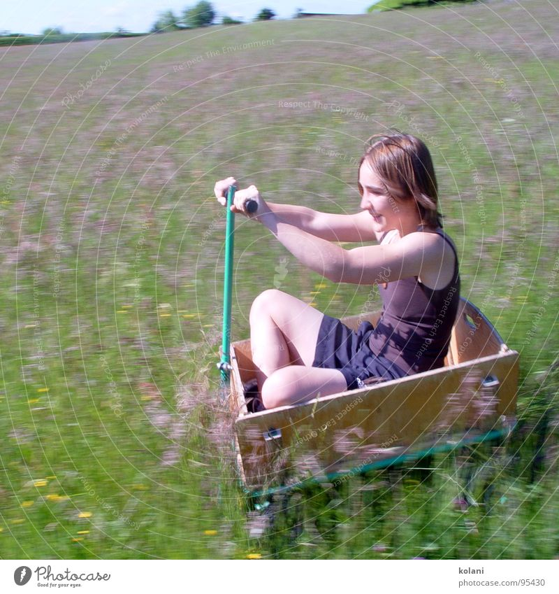 Summer Warmth Speed Driving Physics Blossoming Downward Slope Flower meadow Trolley Sit Cross Legged
