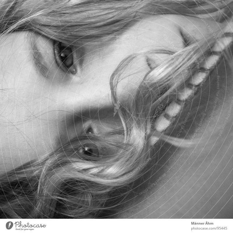 Woman Eyes Hair and hairstyles Laughter Lie Bed Trust Curl Blanket Bedroom Arise