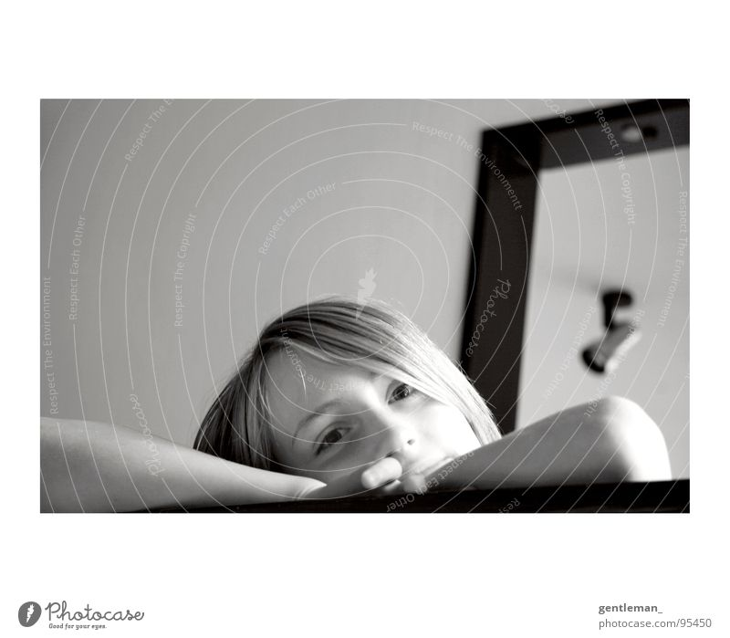 Human being Calm Happy Head Contentment Flat (apartment) Concentrate Black & white photo Daydream