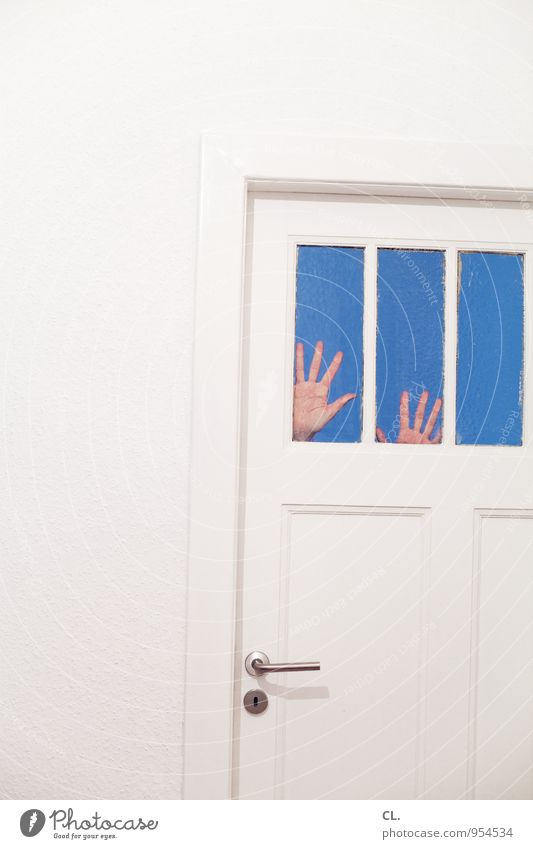 Human being Blue White Loneliness Hand Window Wall (building) Funny Wall (barrier) Flat (apartment) Fear Room Living or residing Door Dangerous Threat