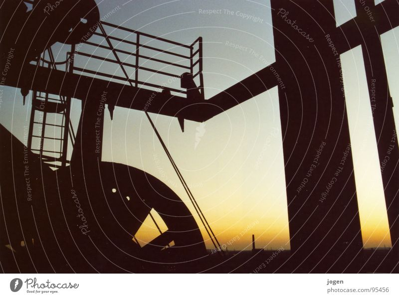 Sky Black Work and employment Orange Metal Industry Vantage point Steel Monument Historic Landmark Chimney Dusk The Ruhr Duisburg Vest