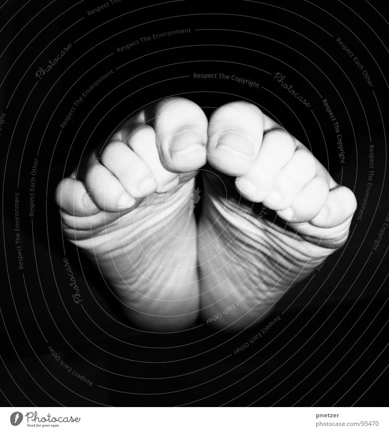 pedal Toes Nail Black White Nerviness Cramped Joy Black & white photo Woman Feet Titillation Barefoot