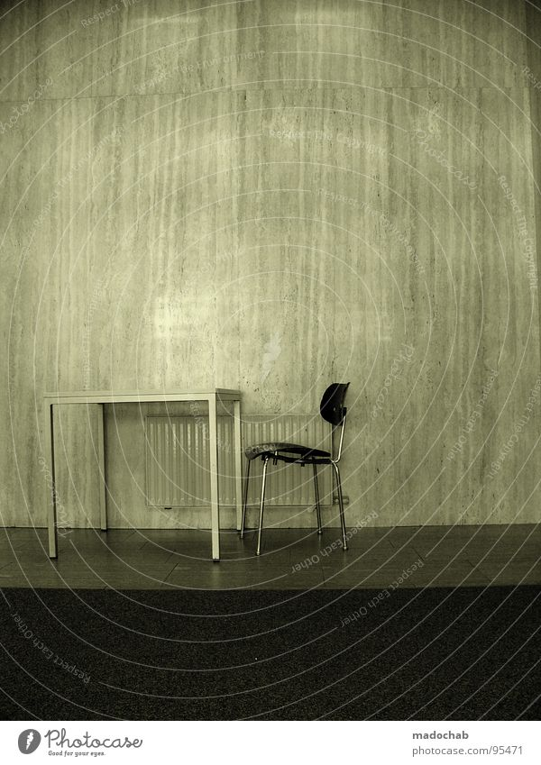Old Loneliness Wall (building) Gray Stone Sadness Legs Room Fear Wait Table Empty Gloomy Communicate Stand Chair