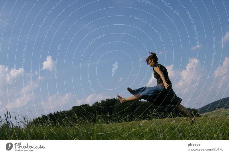 just fly away... Air Clouds Woman Jump Grass Meadow Field Summer Flower Sky Stride Freedom Mountain Nature Life