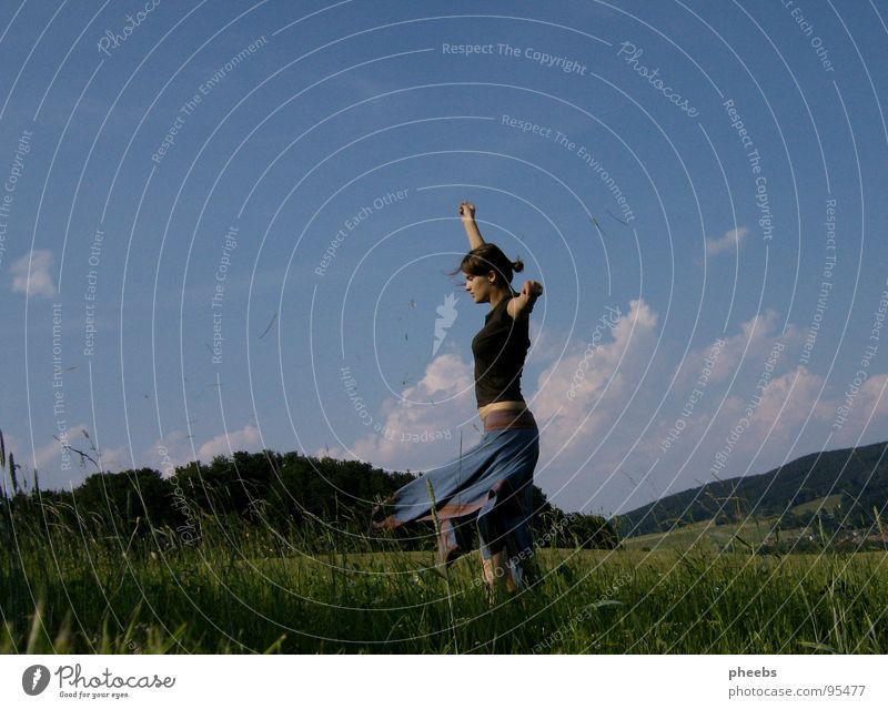 ...or enjoy... Air Clouds Woman Grass Meadow Field Summer Flower To enjoy Contentment Calm Sky Stride Freedom Mountain Nature Life Wind