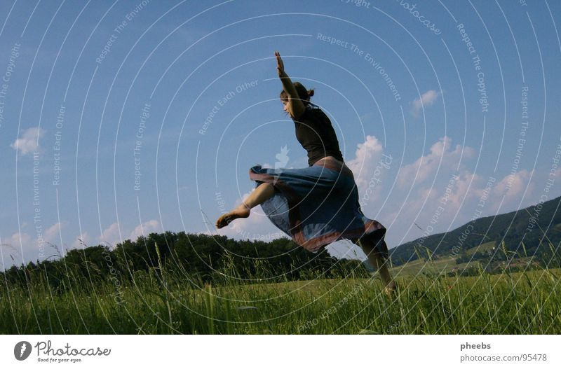 ...or jumping... Air Clouds Woman Jump Grass Meadow Field Summer Flower Sky Stride Freedom Mountain Nature Life