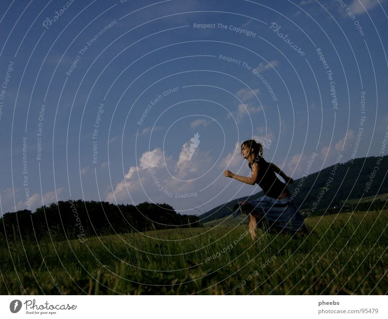 ..run away. Air Clouds Woman Jump Grass Meadow Field Summer Flower Sky Stride Freedom Mountain Nature Life