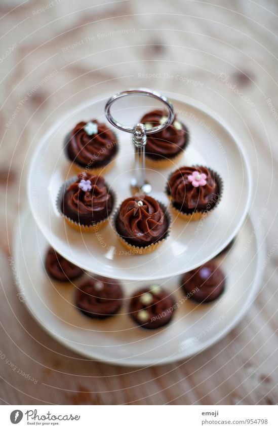 choc-o-late Cake Dessert Candy Chocolate Nutrition Picnic Slow food Finger food Delicious Sweet Cupcake Etagere Colour photo Interior shot Deserted Day