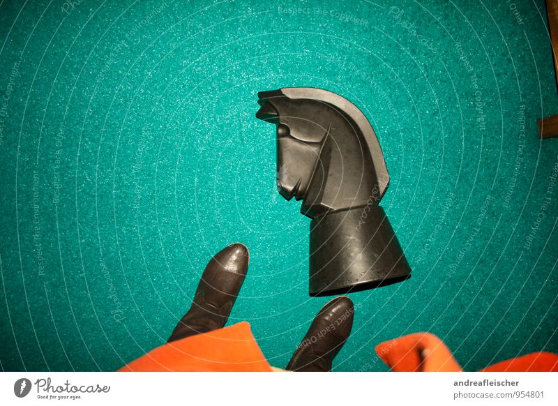 Runner beats horse 1 Human being Stand Horse Chess Green Turquoise Red Coat Boots Playing Joy Topple over Lie Chess piece Success Loser Black Contrast Animal