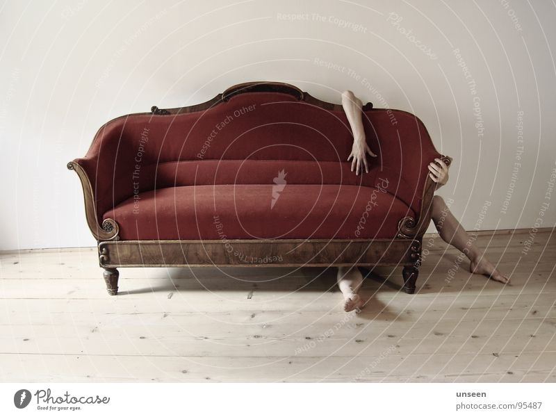 Hello Furniture Sofa Human being Arm Hand Legs Feet 1 Crouch Sit Naked Red Hide Withdraw Colour photo Subdued colour Interior shot Day Shadow Contrast Long shot