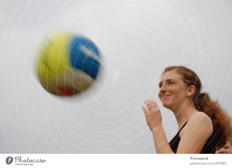 Beautiful Speed Ball Lady Captured Accident Surprise Freckles Red-haired Reaction Frightening Shock Volleyball (sport) Mole Ball sports Situation