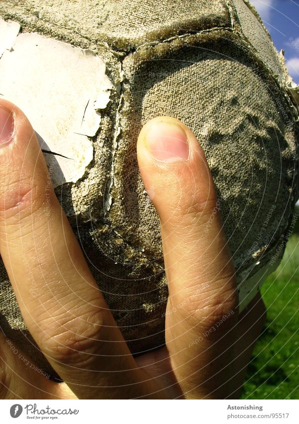 Human being Old Hand Sports Playing Gray Masculine Skin Fingers Soft Broken To hold on Ball Shabby Leather Throw