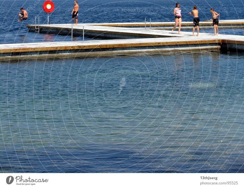 Blue Water Vacation & Travel Summer Joy Graffiti Playing Lanes & trails Jump Lake Waves Swimming & Bathing Fresh Happiness Letters (alphabet) Footbridge